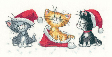 click here to view larger image of Christmas Kittens - Cats Rule (counted cross stitch kit)