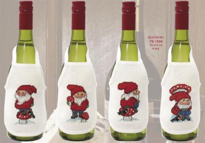 click here to view larger image of Christmas Elves Wine Aprons (counted cross stitch kit)