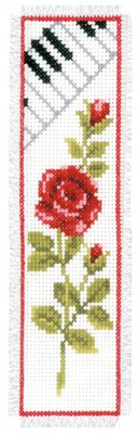 click here to view larger image of Rose with Piano Bookmark (counted cross stitch kit)