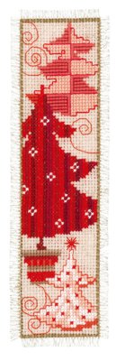 click here to view larger image of Red Christmas Trees Bookmark (counted cross stitch kit)