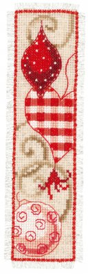 click here to view larger image of Red Christmas Ornament Bookmark (counted cross stitch kit)