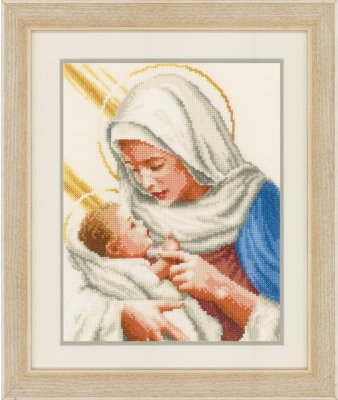 click here to view larger image of Mary and Baby Jesus (counted cross stitch kit)