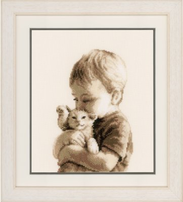click here to view larger image of Boy With A Kitten (counted cross stitch kit)