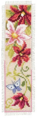 click here to view larger image of Red Flowers Bookmark (counted cross stitch kit)