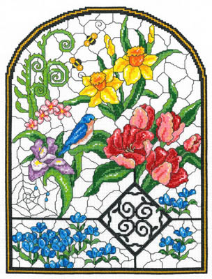 click here to view larger image of Spring Stained Glass - Kit (counted cross stitch kit)