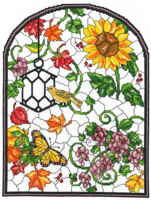 click here to view larger image of Autumn Stained Glass - Kit (counted cross stitch kit)