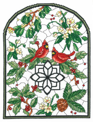 Winter Stained Glass - Kit - click here for more details about counted cross stitch kit