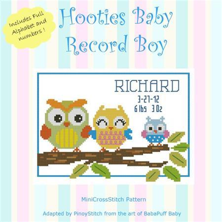 click here to view larger image of Hooties Baby Record - Boy (chart)