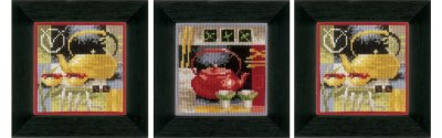 click here to view larger image of Asian Tea Ceremony (Set of 3) (counted cross stitch kit)