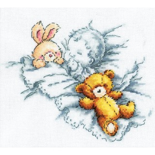 click here to view larger image of Baby With Rabbit and Teddy Bear (counted cross stitch kit)
