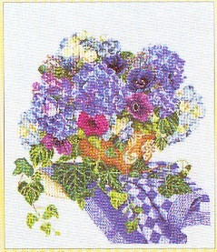 click here to view larger image of Blue Floral Arrangement - Aida (counted cross stitch kit)