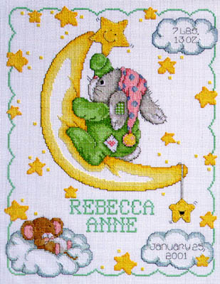click here to view larger image of Crescent Moon Birth Announcement  (counted cross stitch kit)