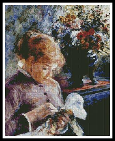 click here to view larger image of Lady Sewing  (Pierre Auguste Renoir) (chart)