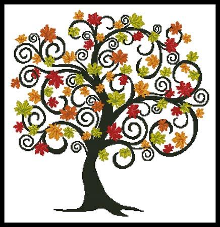 click here to view larger image of Decorative Autumn Tree (chart)