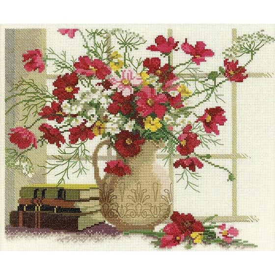 click here to view larger image of Blooming Cosmos (counted cross stitch kit)