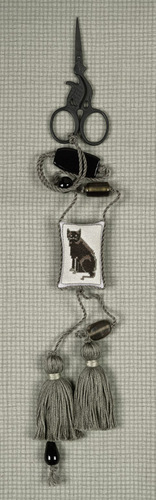 click here to view larger image of Black Cat Scissors Fob (counted cross stitch kit)