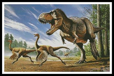 click here to view larger image of TRex Attacking Struthiomimus Dinosaurs (chart)
