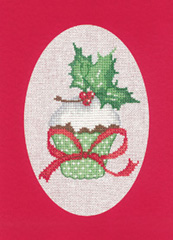click here to view larger image of Cupcake - Red - Christmas Cards by Sue Hill (counted cross stitch kit)