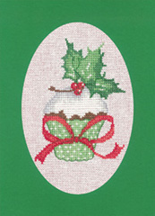 click here to view larger image of Cupcake - Green - Christmas Cards by Sue Hill (counted cross stitch kit)
