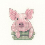 click here to view larger image of Pig - Little Friends Collection - Evenweave kit (counted cross stitch kit)