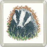 click here to view larger image of Badger - Little Friends - Coaster kit (counted cross stitch kit)