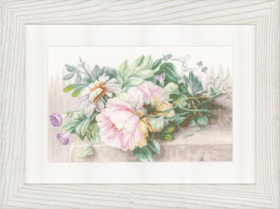 click here to view larger image of Peonies and Morning Glory (counted cross stitch kit)