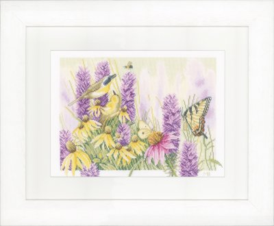 click here to view larger image of Butterfly Bush and Echinacea - Evenweave (counted cross stitch kit)
