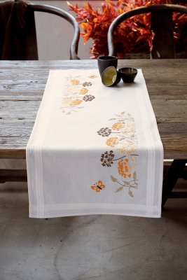 click here to view larger image of Orange Grasses and Butterflies Table Runner (stamped cross stitch kit)