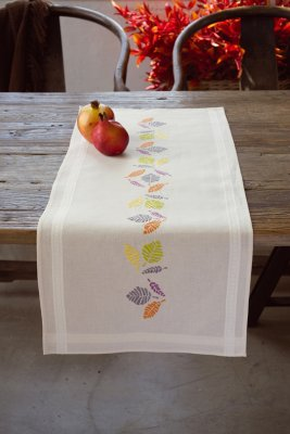 click here to view larger image of Colorful Leaves Table Runner (stamped cross stitch kit)