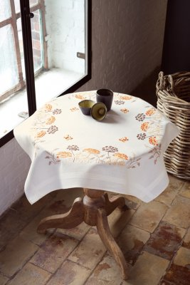 click here to view larger image of Orange Grasses and Butterflies Tablecloth (stamped cross stitch kit)