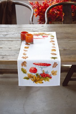 click here to view larger image of Toadstools and Leaves Table Runner (counted cross stitch kit)
