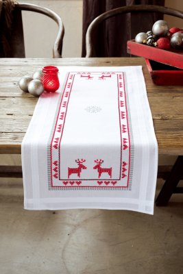 click here to view larger image of Red Reindeers Table Runner (stamped cross stitch kit)