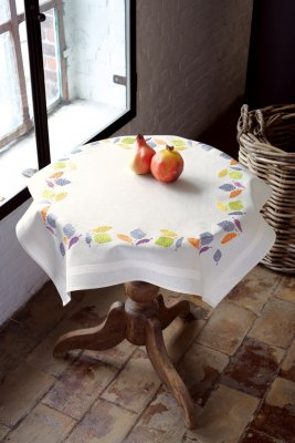 click here to view larger image of Colorful Leaves Tablecloth (stamped cross stitch kit)