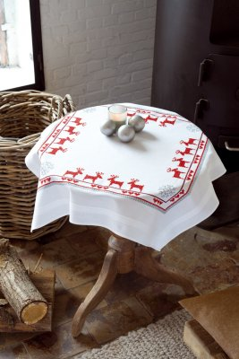 click here to view larger image of Red Reindeers Tablecloth (stamped cross stitch kit)