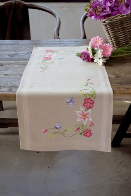 click here to view larger image of Pink Flowers and Butterflies Table Runner (stamped cross stitch kit)