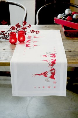 click here to view larger image of Christmas Gnomes Table Runner (stamped cross stitch kit)