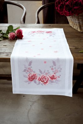 click here to view larger image of Pink Roses Table Runner (stamped cross stitch kit)