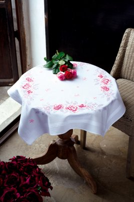 click here to view larger image of Pink Roses Tablecloth (stamped cross stitch kit)