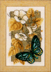click here to view larger image of Butterfly on Flowers II (counted cross stitch kit)