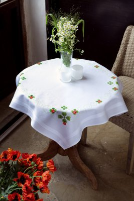 click here to view larger image of Four Leaf Clover Tablecloth (stamped cross stitch kit)