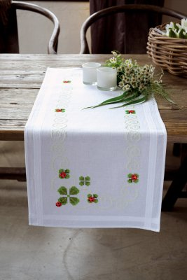 click here to view larger image of Four Leaf Clover Table Runner (stamped cross stitch kit)