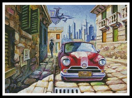 click here to view larger image of Old Red Car in a Sunny Street (chart)