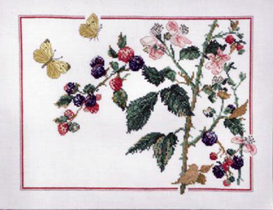 click here to view larger image of Butterfly and Blackberries (counted cross stitch kit)