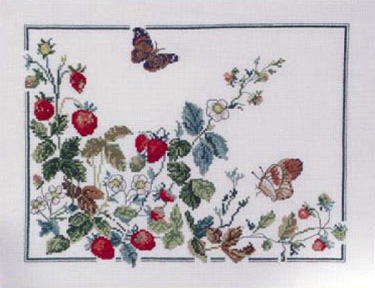 click here to view larger image of Butterfly and Strawberries (counted cross stitch kit)