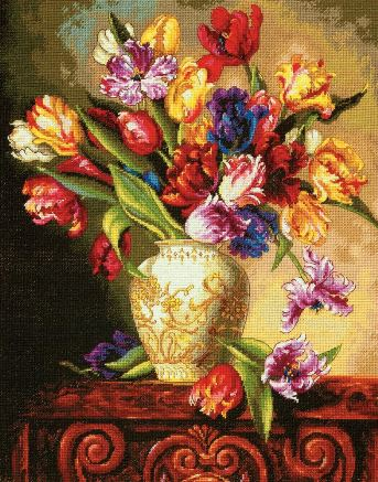 click here to view larger image of Parrot Tulips (counted cross stitch kit)