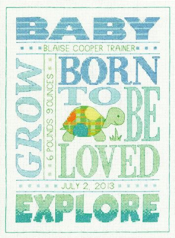 click here to view larger image of About Boys Birth Record (counted cross stitch kit)