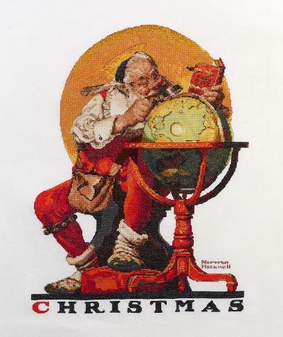 click here to view larger image of Santa At The Globe (counted cross stitch kit)