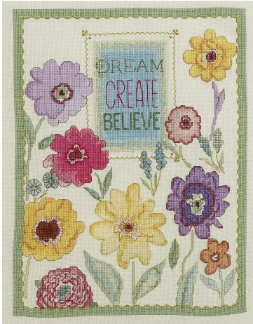 click here to view larger image of Dream, Create, Believe (counted cross stitch kit)
