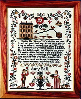 click here to view larger image of Amy Ball 1810 Sampler (35ct Kit) (counted cross stitch kit)