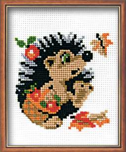 click here to view larger image of Hedgehog in a Basket (counted cross stitch kit)